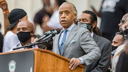 "Rev. Al Sharpton speaks at the 2020 March on Washington, officially known as the ""Commitment March: Get Your Knee Off Our Necks,"" at the Lincoln Memorial on August 28, 2020 in Washington, DC."