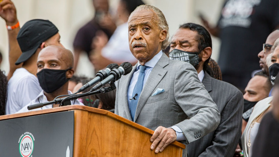 """Rev. Al Sharpton speaks at the 2020 March on Washington, officially known as the """"Commitment March: Get Your Knee Off Our Necks,"""" at the Lincoln Memorial on August 28, 2020 in Washington, DC."""