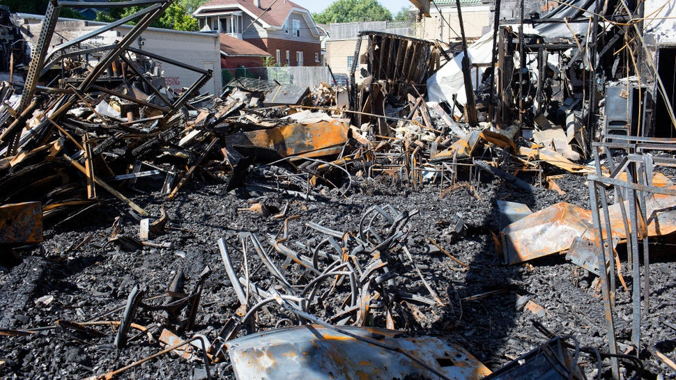 A week after rioting in response to the police shooting of Jacob Blake, the rubble of burned stores remain in the Uptown neighborhood, September 2, 2020 on Kenosha, Wisconsin.
