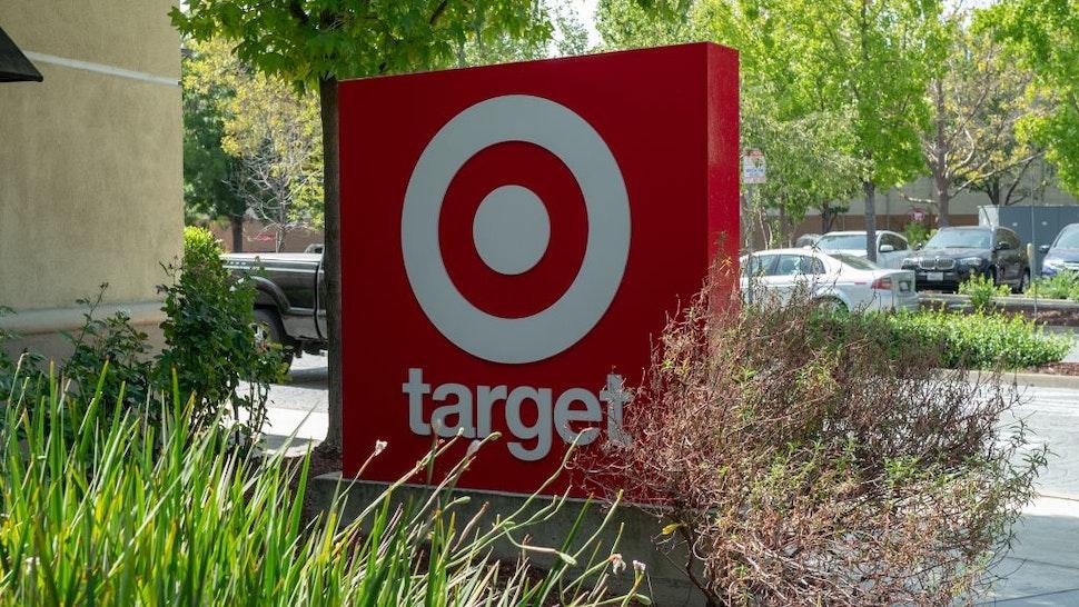 Close-up of sign for Target retail store, San Ramon, California, September 18, 2020.