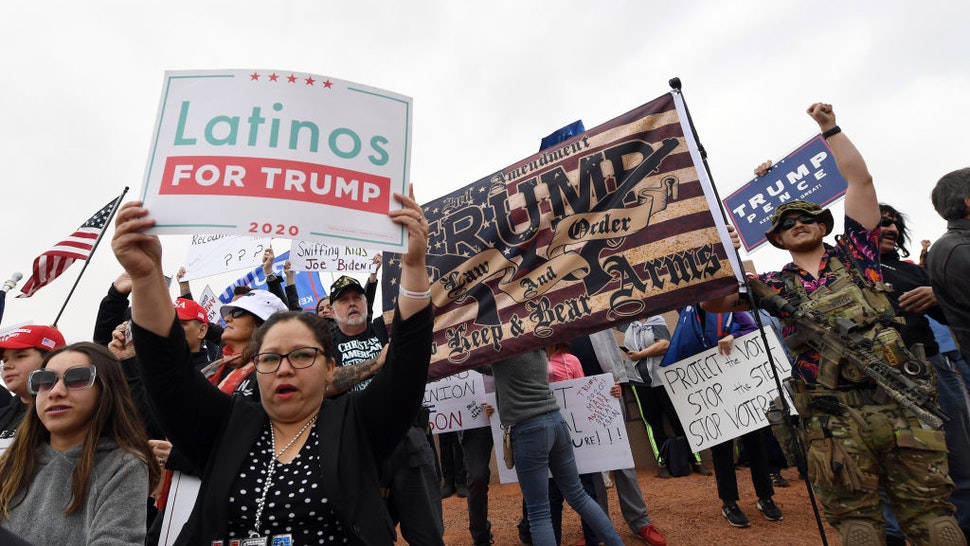 Supporters of President Donald Trump protest outside the Clark County Election Department on November 7, 2020 in North Las Vegas, Nevada.