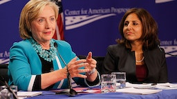 """Secretary Hillary Clinton (L) and CAP President Neera Tanden attend the """"Why Women's Economic Security Matters For All"""" panel discussion at The Center For American Progress on September 18, 2014 in Washington, DC."""
