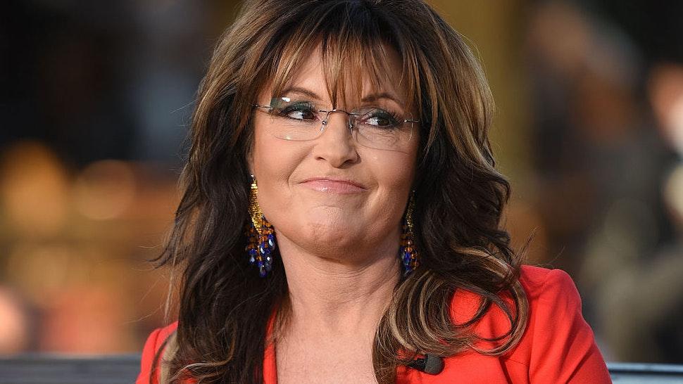 "Sarah Palin visits ""Extra"" at Universal Studios Hollywood on December 4, 2015 in Universal City, California."