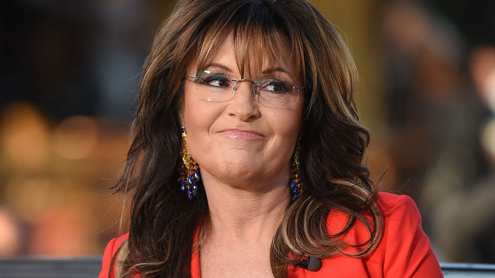"Sarah Palin visits ""Extra"" at Universal Studios Hollywood on December 4, 2015 in Universal City, California."