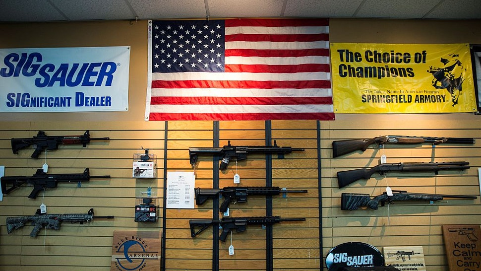 AR-15 style rifles and shotguns for sale at Blue Ridge Arsenal in Chantilly, Va., USA on January 9, 2015.