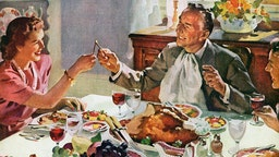 Vintage illustration of a husband and wife pulling the wishbone of a turkey for good luck at Thanksgiving dinner; screen print, 1942.