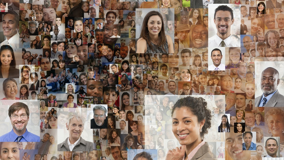 Collage of faces of business people - stock photo