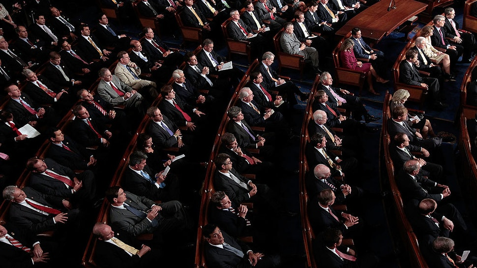 WASHINGTON, DC - SEPTEMBER 08: Republican members of Congress listen as U.S. President Barack Obama addresses a Joint Session of Congress at the U.S. Capitol September 8, 2011 in Washington, DC. Obama addressed both houses of the U.S. legislature to highlight his plan to create jobs for millions of out of work Americans. (Photo by Chip Somodevilla/Getty Images)