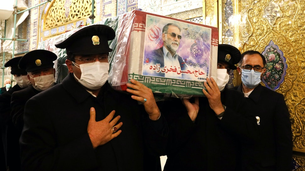"""MASHHAD, IRAN - NOVEMBER 29: (----EDITORIAL USE ONLY MANDATORY CREDIT - """"IRANIAN DEFENSE MINISTRY / HANDOUT"""" - NO MARKETING NO ADVERTISING CAMPAIGNS - DISTRIBUTED AS A SERVICE TO CLIENTS----) A ceremony held at The Imam Reza Shrine after the killing of Iranian Top nuclear scientist, Mohsen Fakhrizadeh Mahabadi, in Mashhad, Iran on November 29, 2020. Fakhrizadeh, who headed research and innovation at the defense ministry, was attacked Friday in Damavand county near Tehran. Assailants reportedly exploded a vehicle ahead of Fakhrizadeh and fired at his vehicle, wounding him and others with him."""