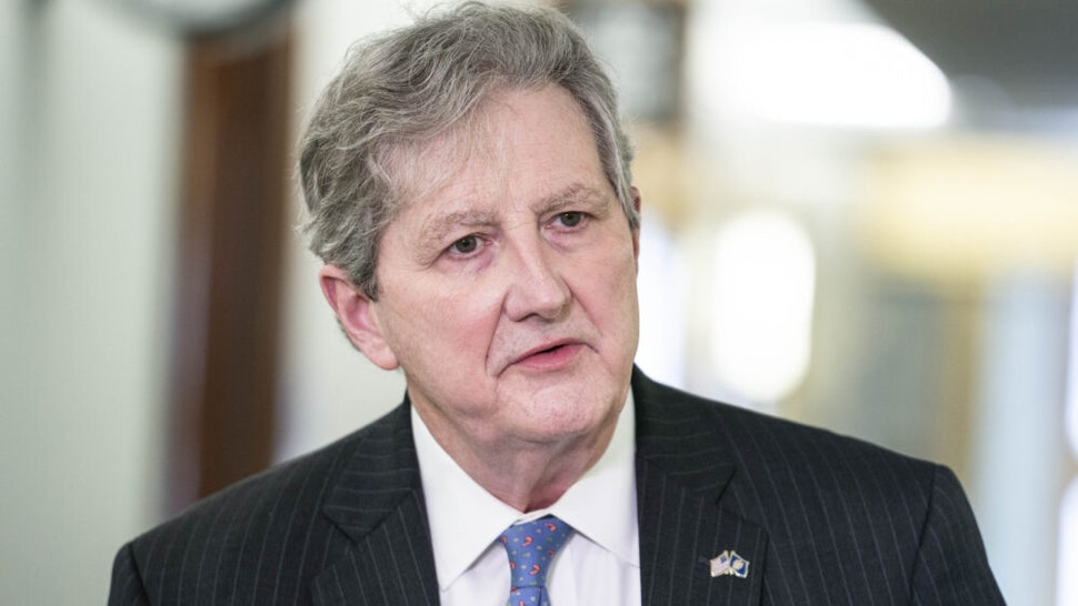 """WASHINGTON, DC - NOVEMBER 10: Sen. John Kennedy (R-LA) arrives to a Senate Judiciary Committee hearing on """"Oversight of the Crossfire Hurricane Investigation: Day 4"""" in the Dirksen Senate Office Building on November 10, 2020 in Washington, DC. Former Deputy FBI Director Andrew McCabe is scheduled to testify remotely before the committee."""