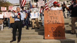 HARRISBURG, PENNSYLVANIA - NOVEMBER 05: Representative Jim Jordan stands with dozens of people calling for stopping the vote count in Pennsylvania due to alleged fraud against President Donald Trump gather on the steps of the State Capital on November 05, 2020 in Harrisburg, Pennsylvania. The activists, many with flags and signs for Trump, have made allegations that votes are being stolen from the president as the race in Pennsylvania continues to tighten in Joe Biden's favor. (Photo by Spencer Platt/Getty Images)