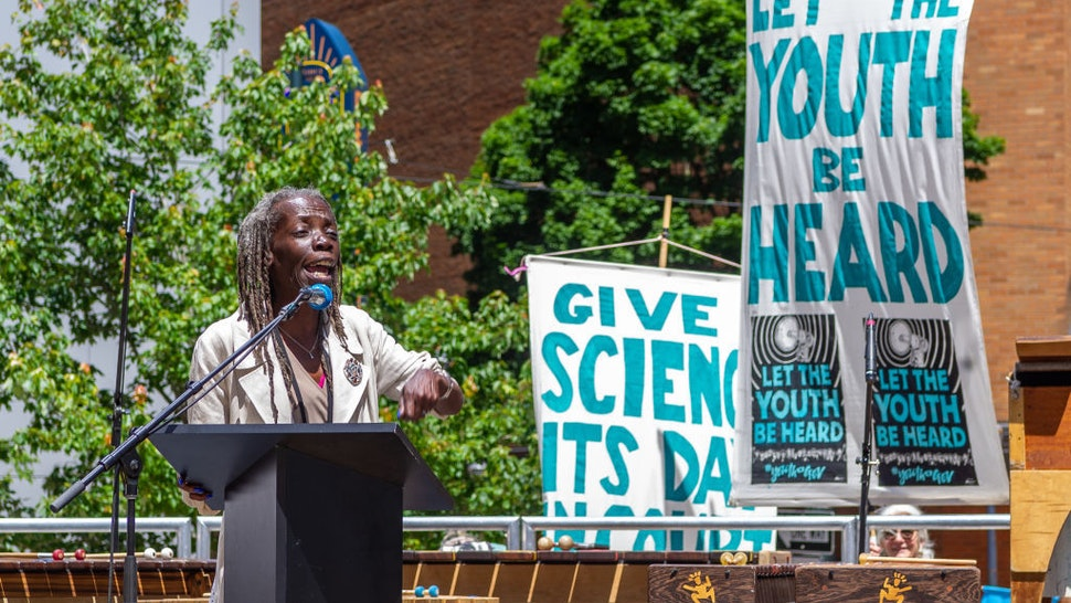 Portland City Commissioner Jo Ann Hardesty speaks the #youthvgov for the Right to a Livable Future in downtown Portland's Director Park on June 4, 2019. The rally supporting the lawsuit brought by Kelsey Juliana v United States at the Court of Appeals for the Ninth Circuit (Photos by Diego Diaz/Icon Sportswire).