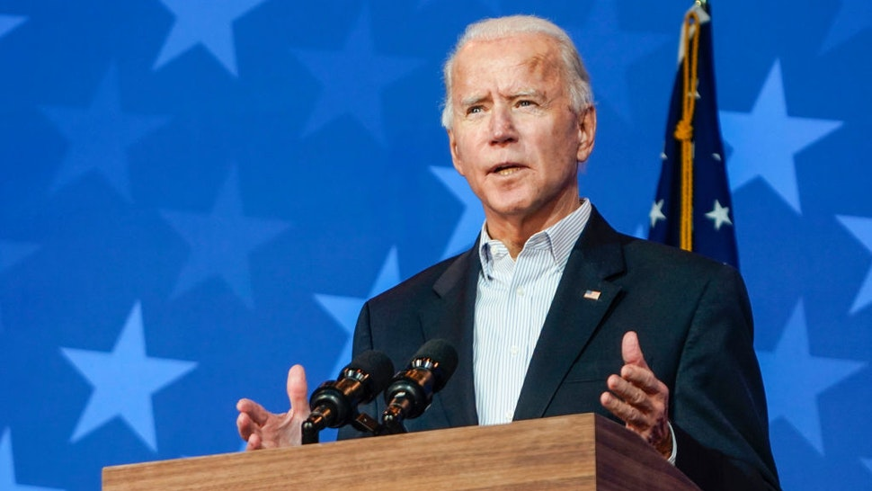 Former Vice President and presidential nominee Joe Biden addresses reporters on November 5, 2020 in Wilmington, Delaware. (Photo by Demetrius Freeman/The Washington Post via Getty Images)
