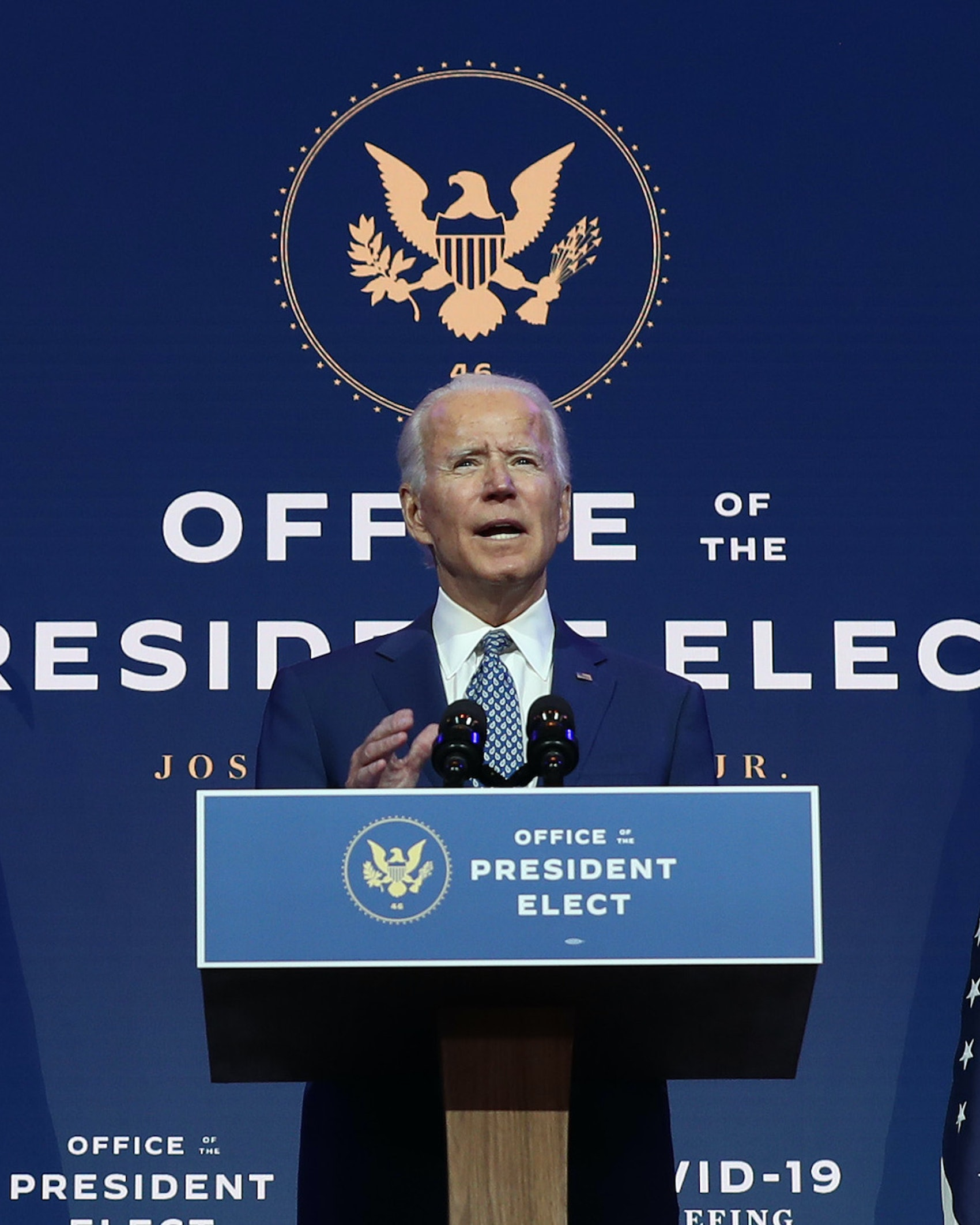 Joe Biden speaks to the media after receiving a briefing from the transition COVID-19 advisory board on November 09, 2020 at the Queen Theater in Wilmington, Delaware. Mr. Biden spoke about how his administration would respond to the coronavirus pandemic. (Photo by Joe Raedle/Getty Images)