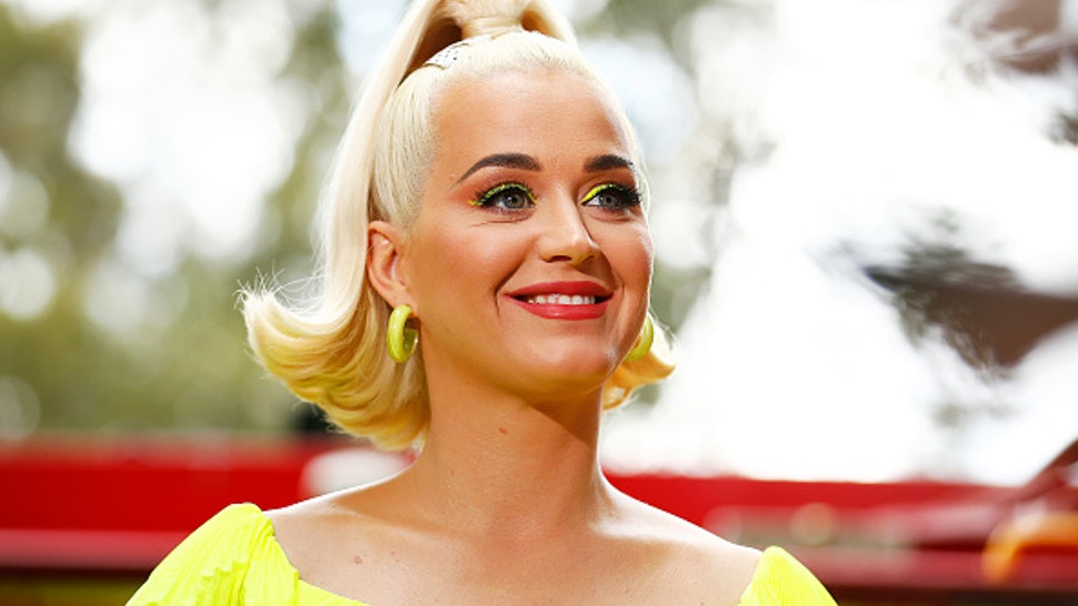 BRIGHT, AUSTRALIA - MARCH 11: Katy Perry speaks to media on March 11, 2020 in Bright, Australia. The free Fight On concert was held for for firefighters and communities recently affected by the devastating bushfires in Victoria.