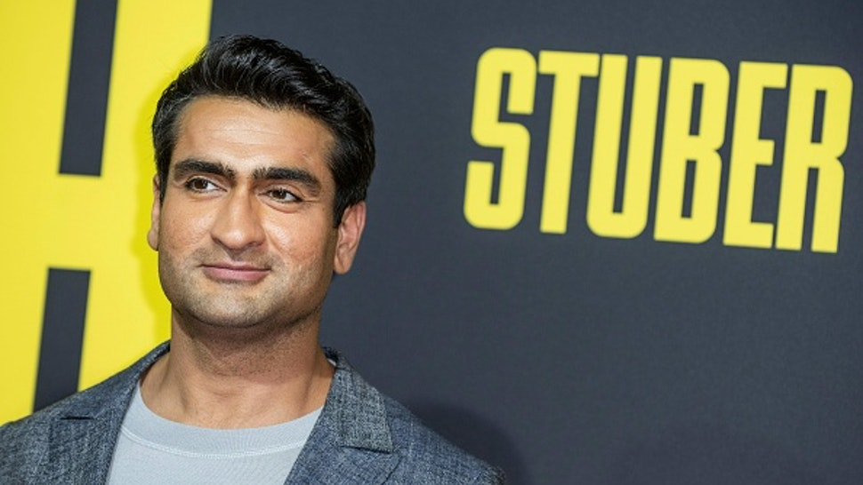 """US/Pakistani actor Kumail Nanjiani arrives for the premiere of """"Stuber"""" at Regal Cinemas LA Live on July 10, 2019 in Los Angeles."""