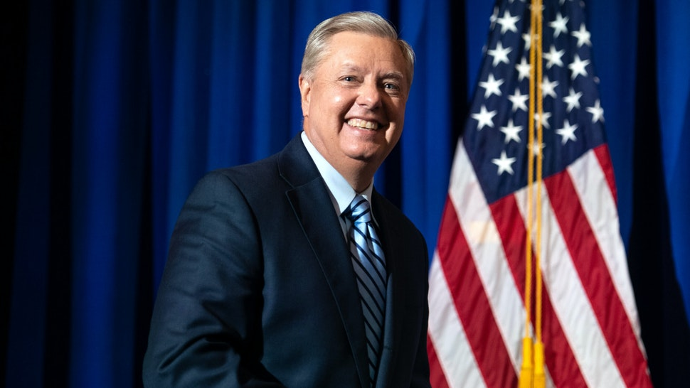 COLUMBIA, SC - NOVEMBER 03: Incumbent candidate Sen. Lindsey Graham (R-SC) walks on stage after a win during his election night party on November 3, 2020 in Columbia, South Carolina. Graham defeated Democratic U.S. Senate candidate Jaime Harrison.