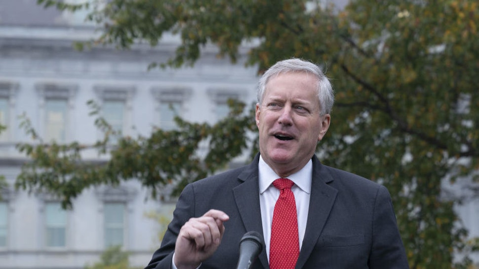 Mark Meadows, White House chief of staff, speaks to members of the media outside of the White House in Washington, D.C., U.S., on Wednesday, Oct. 21, 2020. Meadowssaid the goal in talks with House Speaker Pelosiis a deal on a coronavirus relief package within the next 48 hours.
