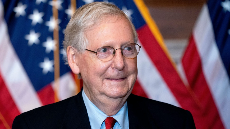 Senate Majority Leader Mitch McConnell, a Republican from Kentucky, stands for a photo at the US Capitol in Washington, DC, on November 9, 2020.
