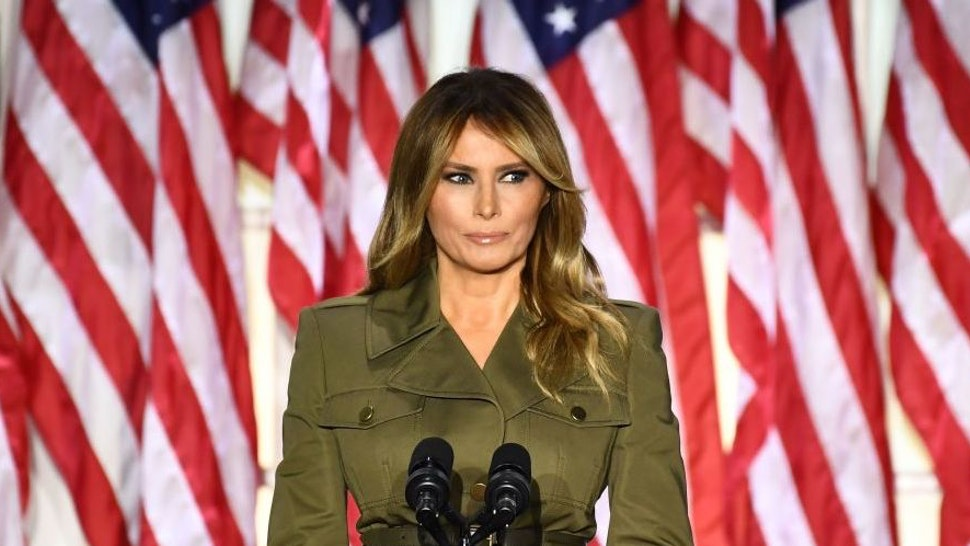 TOPSHOT - US First Lady Melania Trump addresses the Republican Convention during its second day from the Rose Garden of the White House August 25, 2020, in Washington, DC. (Photo by Brendan Smialowski / AFP)