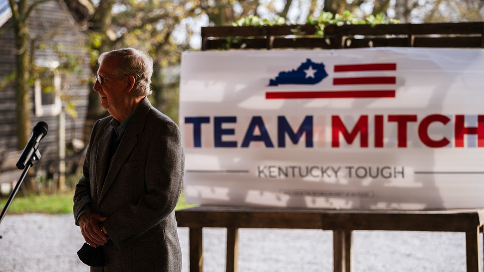 U.S. Senate Majority Leader Sen. Mitch McConnell (R-KY) , stands and speaks to the press and his supporters during a campaign stop on October 28, 2020 in Smithfield, Kentucky. McConnell is running against Democratic U.S. Senate candidate Amy McGrath in next weeks general election. (Photo by Jon Cherry/Getty Images)