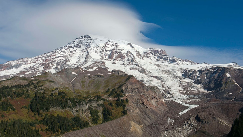 WASHINGTON, UNITED STATES - 2016/09/24: View from the Nisqually Vista Trail of Mount Rainier with the Nisqually Glacier in Mt. Rainier National Park in Washington State, USA
