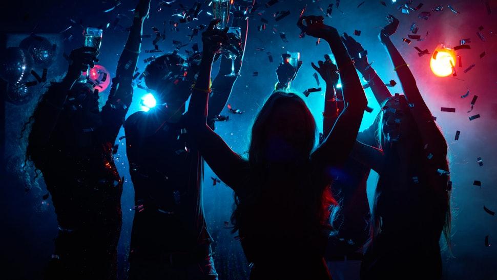 Nightclub party with confetti