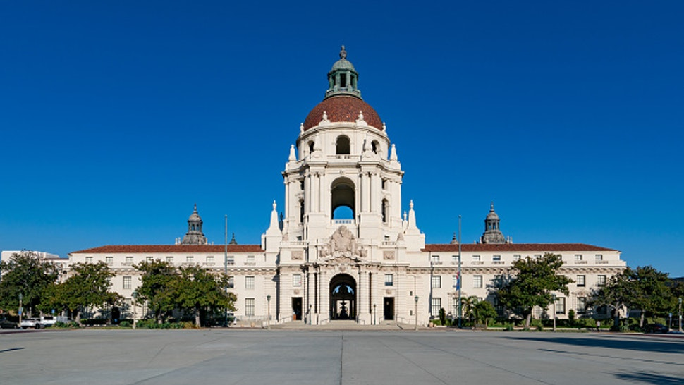 PASADENA, CA - SEPTEMBER 22: General view of Pasadena City Hall, used as a facade for the television show 'Parks and Recreation' on September 22, 2020 in Pasadena, California.