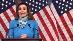 WASHINGTON, DC - MAY 07: U.S. Speaker of the House Rep. Nancy Pelosi (D-CA) speaks during a weekly news conference at the U.S. Capitol May 7, 2020 in Washington, DC. Speaker Pelosi spoke on the latest regarding the COVID-19 pandemic outbreak.