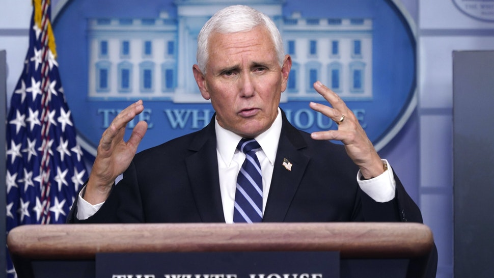 U.S. Vice President Mike Pence speaks during a news conference in the White House in Washington, D.C., U.S., on Thursday, Nov. 19, 2020. Deborah Birx, the White House coronavirus task force coordinator, urged Americans to be vigilant as the pandemic surges across the country, but Pence said President Donald Trump opposes lockdowns and closing schools to curb spread of the coronavirus.