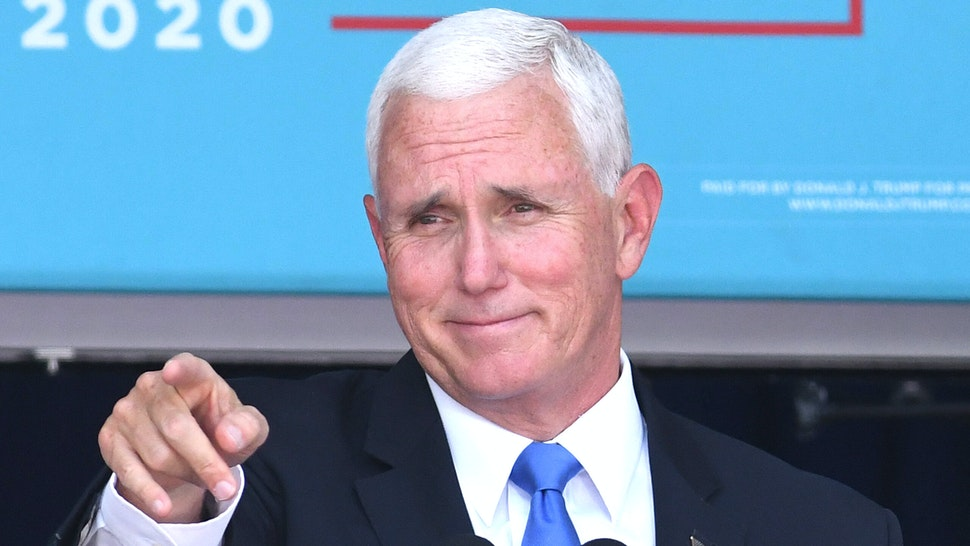 October 10, 2020 - Orlando, Florida, United States - U.S. Vice President Mike Pence addresses supporters at a Latinos for Trump campaign rally at Central Christian University on October 10, 2020 in Orlando, Florida. With 24 days until the 2020 presidential election, both Donald Trump and Democrat Joe Biden are courting the Latino vote as Latinos are the largest racial or ethnic minority in the electorate, with 32 million eligible voters.