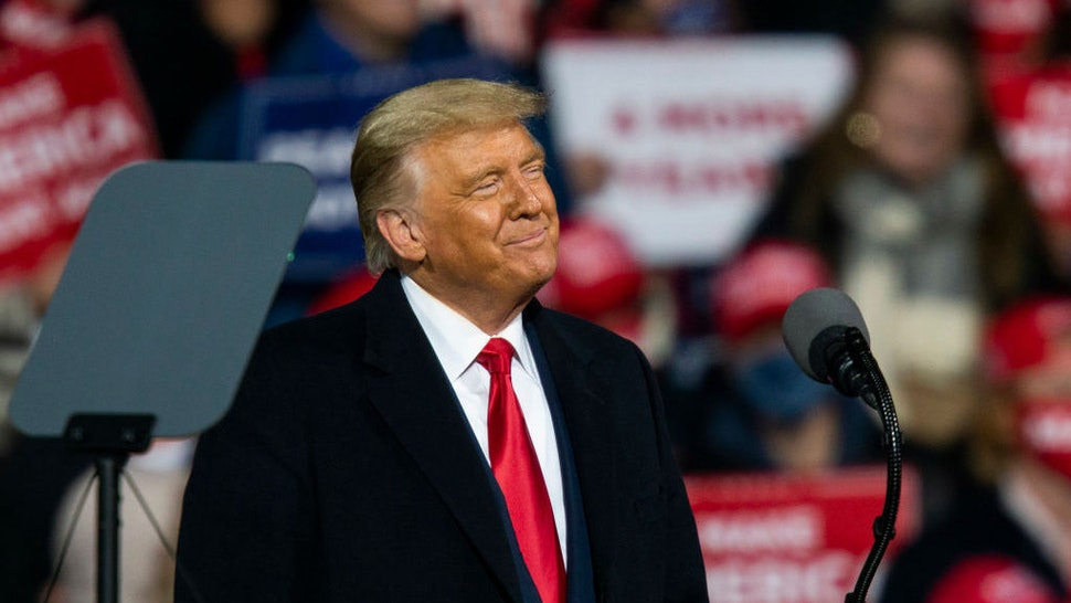 MONTOURSVILLE, PA - OCTOBER 31: U.S. President Donald Trump speaks to supporters during a rally on October 31, 2020 in Montoursville, Pennsylvania. Donald Trump is crossing the crucial state of Pennsylvania in the last few days of campaigning before Americans go to the polls on November 3rd to vote. Trump is currently trailing his opponent Joe Biden in most national polls. (Photo by Eduardo Munoz Alvarez/Getty Images)