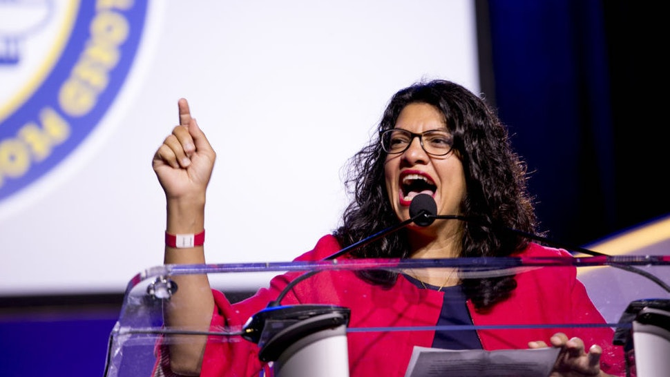 Representative Rashida Tlaib, a Democrat from Michigan, speaks during the 110th NAACP Annual Convention in Detroit, Michigan, U.S., on Monday, July 22, 2019. Democrats are launching a campaign in seven battleground states to make the case against Donald Trump's economy, seeking to neutralize the president's strongest political asset as his re-election campaign heats up. Photographer: Anthony Lanzilote/Bloomberg