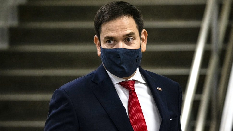 WASHINGTON, DC - NOVEMBER 12: Senator Marco Rubio (R-FL) walks through the Senate subway following a vote in the Senate at the U.S. Capitol on November 12, 2020 in Washington, DC. As President Trump continues to refuse to concede the Presidential Election to President-elect Joe Biden more Congressmen and women call for Biden to begin to receive classified national intelligence briefings from the Tump administration.
