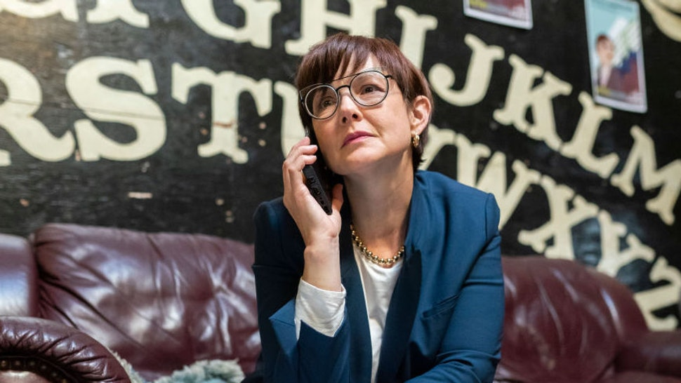 PORTLAND, OR - OCTOBER 28: Portland mayoral candidate Sarah Iannarone calls undecided voters at her campaign office on October 28, 2020 in Portland, Oregon. Recent polls predict a close race between Iannarone and incumbent Mayor Ted Wheeler.