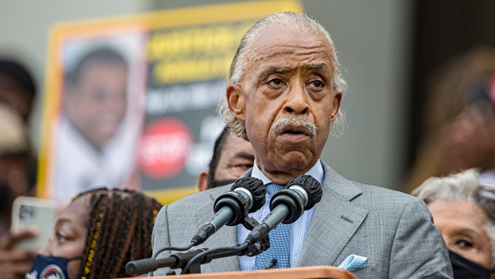 """WASHINGTON, DC - AUGUST 28: Rev. Al Sharpton speaks at the 2020 March on Washington, officially known as the """"Commitment March: Get Your Knee Off Our Necks,"""" at the Lincoln Memorial on August 28, 2020 in Washington, DC. The march coincides with the 57th anniversary of Martin Luther King, Jr.'s March on Washington, where he delivered his """"I Have A Dream"""" speech in 1963."""