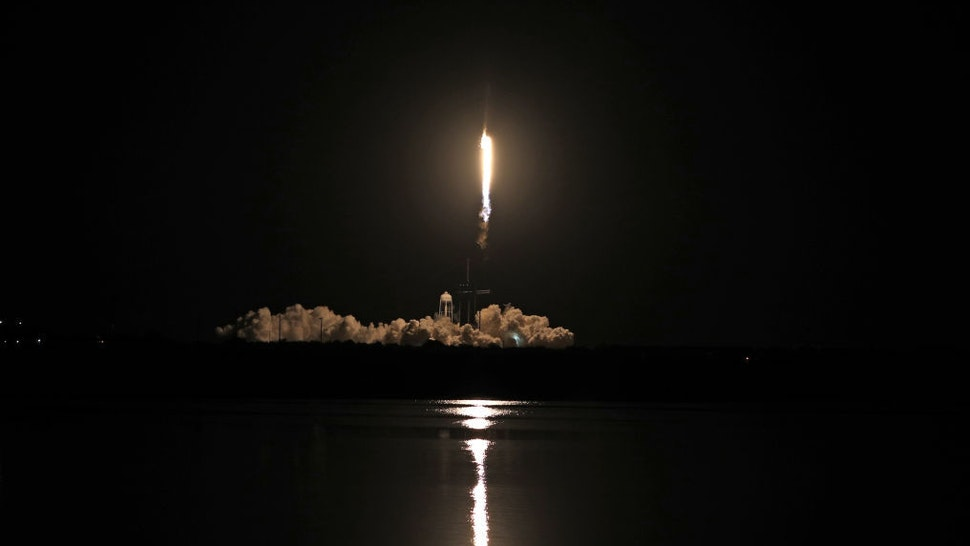 A SpaceX Falcon 9 rocket lifts off from launch complex 39A at the Kennedy Space Center in Florida on November 15, 2020. - NASA's SpaceX Crew-1 mission is the first crew rotation mission of the SpaceX Crew Dragon spacecraft and Falcon 9 rocket to the International Space Station as part of the agencys Commercial Crew Program. NASA astronauts Mike Hopkins, Victor Glover, and Shannon Walker, and astronaut Soichi Noguchi of the Japan Aerospace Exploration Agency (JAXA) are scheduled to launch at 7:27 p.m. EST on November 15, from Launch Complex 39A at the Kennedy Space Center. (Photo by Gregg Newton / AFP)