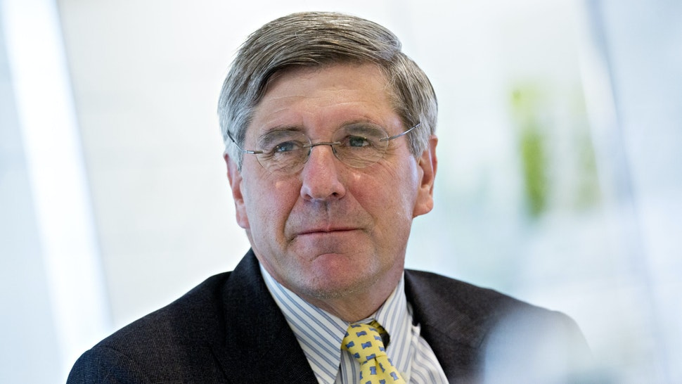 """Stephen Moore, visiting fellow at the Heritage Foundation, listens during an interview in Washington, D.C., U.S., on Thursday, May 2, 2019. PresidentDonald Trump's selection for theFederal Reserve Board of Governors, Stephen Moore, said he is """"all in"""" for the central bank despite growing objections to his potential nomination amongSenate Republicans."""