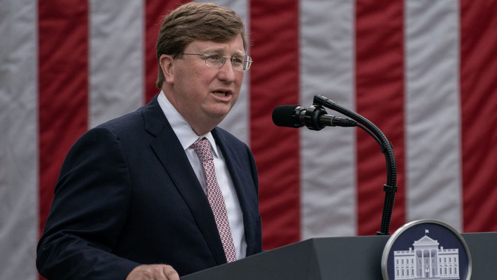 Tate Reeves, governor of Mississippi, speaks during an event in the Rose Garden of the White House in Washington, D.C., U.S., on Monday, Sept. 28, 2020. President Donald Trumpis set to announce the government will send millions of rapid-result Covid-19 tests to states, and urge that they be used in schools. Photographer: Ken Cedeno/Sipa/Bloomberg
