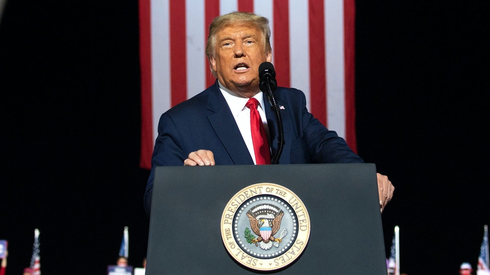 US President Donald Trump addresses supporters during a Make America Great Again rally as he campaigns in Gastonia, North Carolina, October 21, 2020.