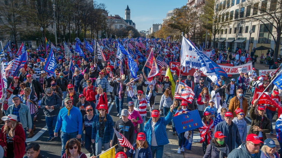 Thousands of supporters of President Trump march along Pennsylvania Avenue towards the Supreme Court during the Million MAGA March rally in Washington, DC, on November 14, 2020. (Photo by Craig Hudson for The Washington Post via Getty Images)