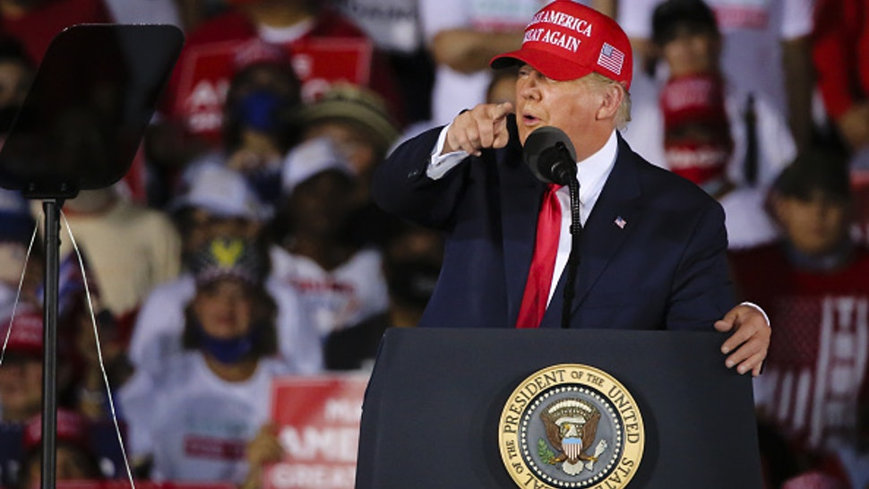 FLORIDA, USA - NOVEMBER 2: US President Donald Trump holds a rally to address his supporters at Miami-Opa Locka Executive Airport in Miami, Florida, United States on November 2, 2020.