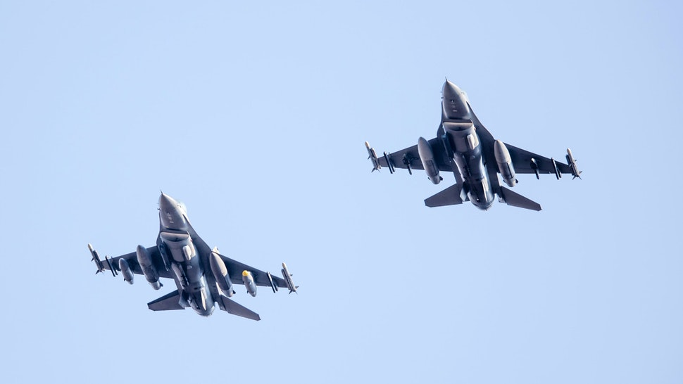 COLORADO SPRINGS, CO - OCTOBER 03: An Air Force F-16 flyover during a regular season college football game between the Navy Midshipmen and the Air Force Falcons on October 3, 2020, at Falcon Stadium in Colorado Springs, CO