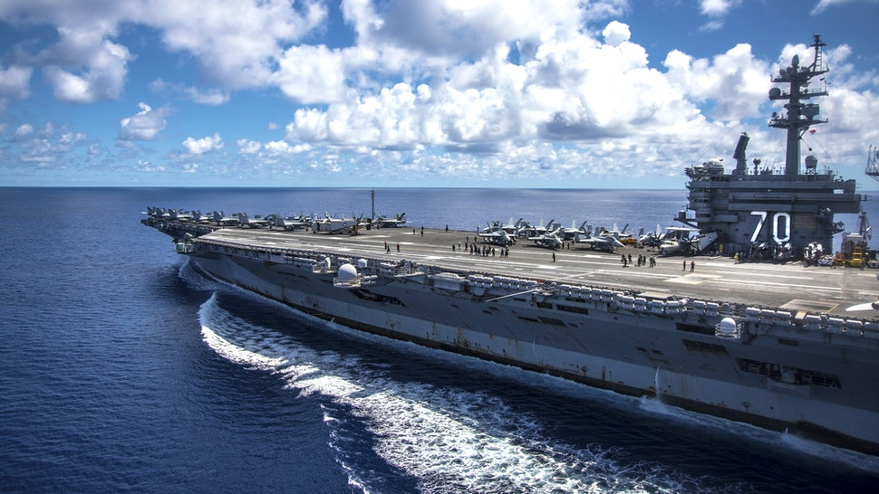 PHILIPPINE SEA - APRIL 23: In this photo provided by the U.S. Navy, the USS Carl Vinson transits the Philippine Sea while conducting a bilateral exercise with the Japan Maritime Self-Defense Force on April 23, 2017 in the Philippine Sea. The Carl Vinson Carrier Strike Group is operating as part of U.S. 7th Fleet, but remains deployed under the U.S. 3rd Fleet Forward operating concept, which provides additional options to the Pacific Fleet commander. U.S. Navy aircraft carrier strike groups have patrolled the Indo-Asia-Pacific regularly and routinely for more than 70 years.