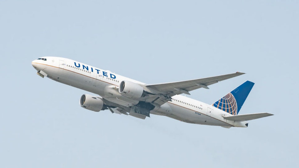 LOS ANGELES, CA - SEPTEMBER 15: United Airlines Boeing 777-222 takes off at Los Angeles international Airport on September 15, 2020 in Los Angeles, California.