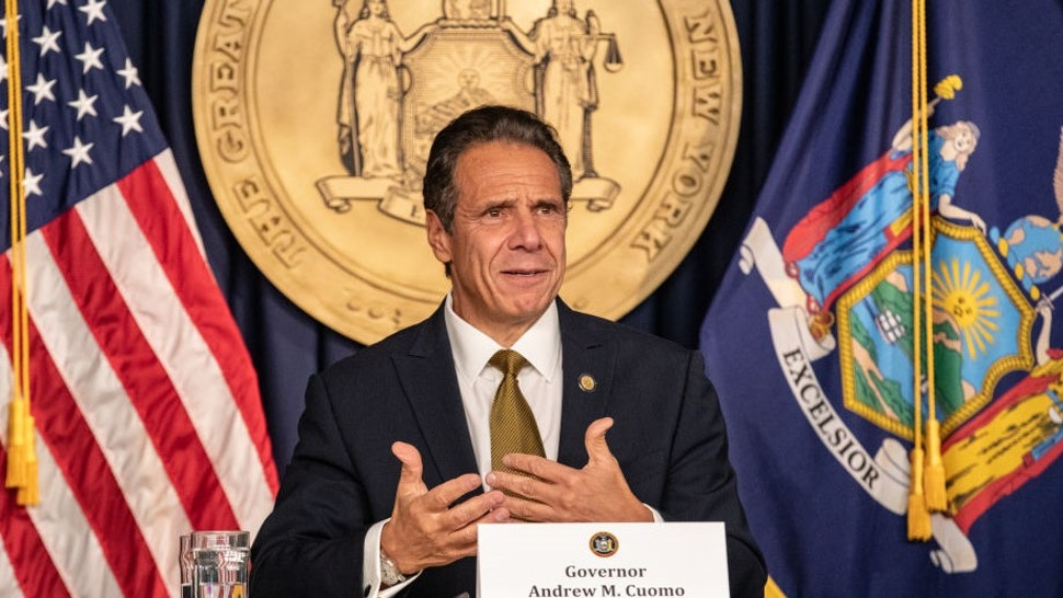 Andrew Cuomo, governor of New York, speaks during a news conference in New York, U.S., on Monday, Oct. 5, 2020. Governor Cuomo said New York City public and private schools in viral hot spots must close Tuesday, and he threatened to shut religious institutions if members dont follow rules about masks and social distancing. Photographer: