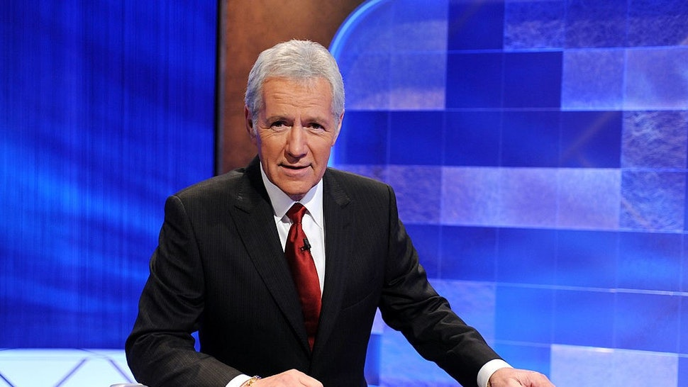 """CULVER CITY, CA - APRIL 17: Game show host Alex Trebek poses on the set of the """"Jeopardy!"""" Million Dollar Celebrity Invitational Tournament Show Taping on April 17, 2010 in Culver City, California. (Photo b"""