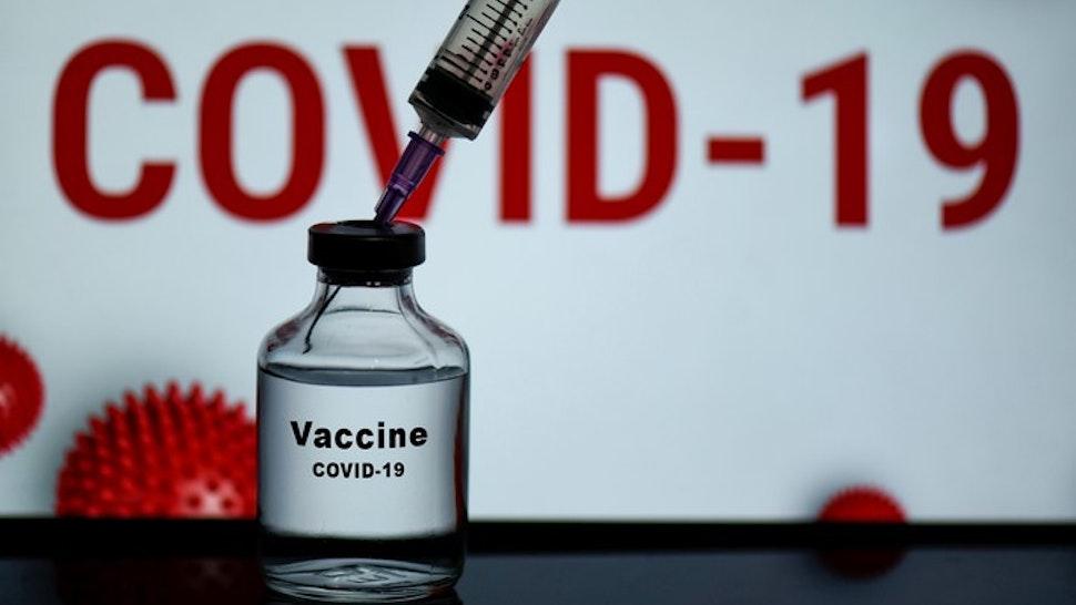 n this photo illustration a bottle of Covid-19 coronavirus Vaccine is seen