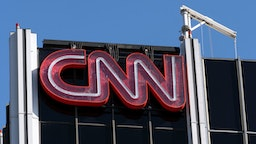 The CNN logo is seen atop its bureau in Los Angeles, California.