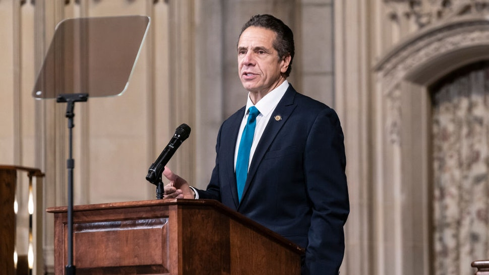 NEW YORK, UNITED STATES - 2020/11/15: Governor Andrew Cuomo delivers remarks at Riverside Church during morning worship on the inequities in the Trump administration's vaccine distribution plan. The Governor declared that New York State will mobilize an army to vaccinate all New Yorkers fairly, equitably. Governor reminded to the audience words by Reverend Dr. King who said of all the forms of inequality, injustice in health is the most shocking and the most inhumane because it often results in physical death. (Photo by Lev Radin/Pacific Press/LightRocket via Getty Images)